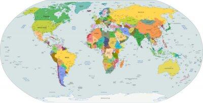 Obraz Globalna mapa polityczna świata, wektor