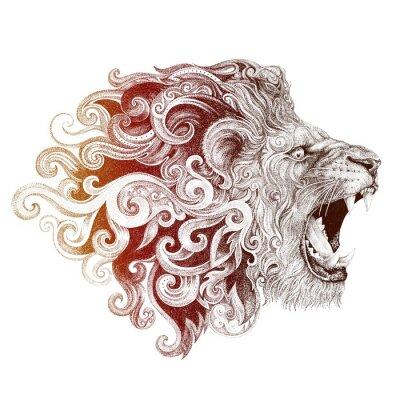 Obraz Głowa lwa tatuaż szczerząc