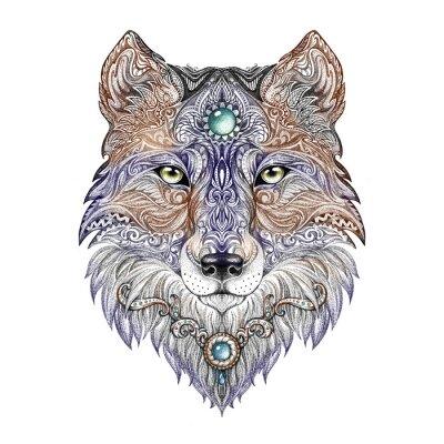 Obraz Głowa wilka Tatuaż dziki drapieżnik