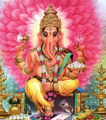 Obraz god Ganesha hindu elephant flowers holy illustration