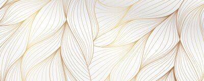 Obraz Gold abstract line arts background vector. Luxury wall paper design for prints, wall arts and home decoration, cover and packaging design.