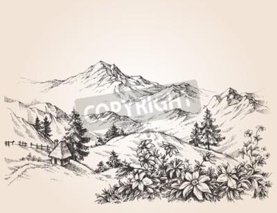 Obraz Góry krajobraz szkic
