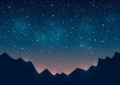 Obraz Góry sylwetki na tle rozgwieżdżonego