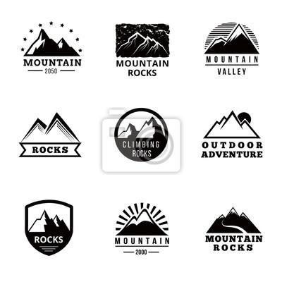 Obraz Góry wektor logo, naszywki emblematy i grafika ustawiona. Przygoda na zewnątrz, wyprawy górskie, wspinaczka górska odznaka śnieg, szczyt górski etykieta ilustracji