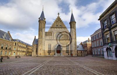 Gotycka fasada Ridderzaal w Binnenhof, Haga, Holandia