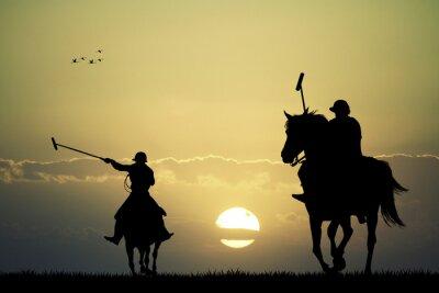 Obraz gracze polo na koniach