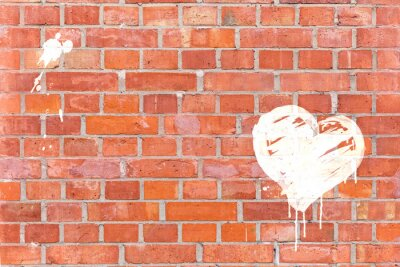 Obraz Graffiti-Herz auf eine Mauer mit Platz für gerendert tekst