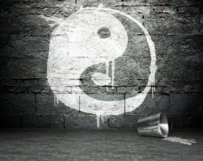 Obraz Graffiti mur z yin yang, street photography