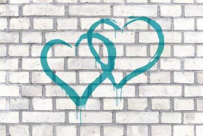Obraz Graffiti serca świadczonych na ścianie w tle