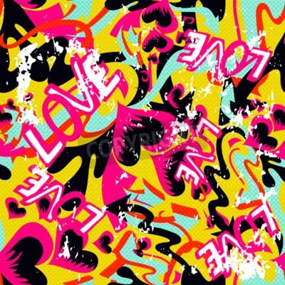 Obraz Graffiti Walentynki bezszwowe tło grunge tekstury