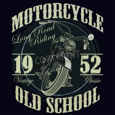 Obraz Grafiki Typografia Motocyklowe. Stary motocykl szkolny. T-shirt Design, ilustracji wektorowych