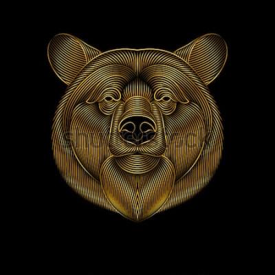 Obraz Grawerowanie stylizowanego złotego niedźwiedzia na czarnym tle. Rysunek liniowy.