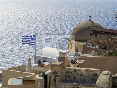 greckie ruiny flag i stary kościół na Santorini