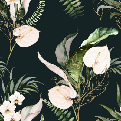 Obraz Green tropical leaves and blush flowers on dark background. Watercolor hand painted seamless pattern. Floral tropic illustration. Jungle foliage.