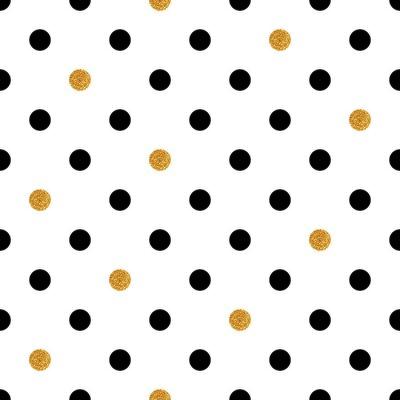 Obraz Grochy bezszwowe tło w kolorach złota i czerni.