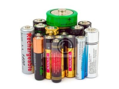 Grupa baterii na białym tle