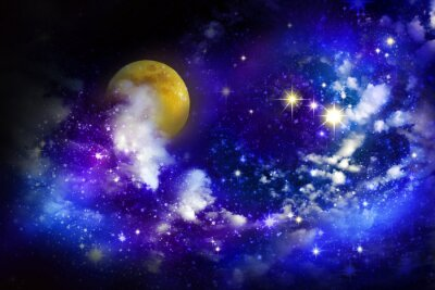Obraz Gwiazdy i księżyc na nocnym niebie.