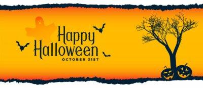 Obraz halloween festival scene with tree, flying bats and pumpkins