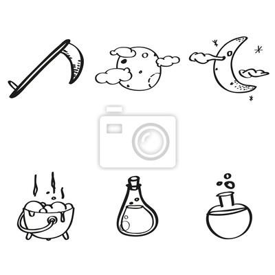 Obraz Halloween - Zestaw ikon dla trick lub leczenia.