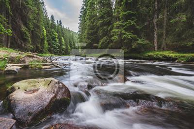 Obraz Halna rzeka płynie w głębokim zielonym forrest. Długa ekspozycja, przepływ wody w ruchu. Zatoczka w głębokiej Alasce jak las, kamienie i wodospad.
