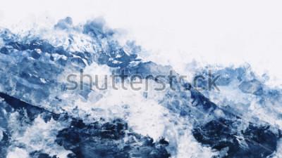 Obraz Halny szczyt w zimie paining w błękitnym brzmieniu na białym tle, cyfrowy akwarela obraz