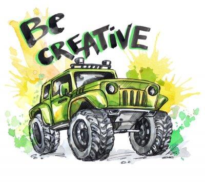 Obraz Hand wyciągnąć kartę z dużym samochodem i litery. Słowa Bądź Kreatywny. Akwarela multicolor ilustracji. Aktywny szalony sport. Transport.