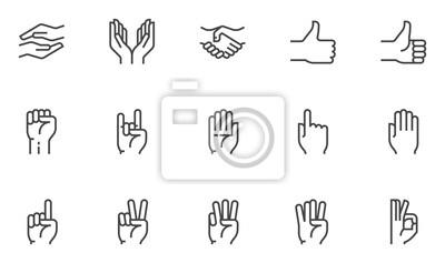 Obraz Hands vector line icons set. Hand gestures, signals. Editable stroke. 48x48 Pixel Perfect.