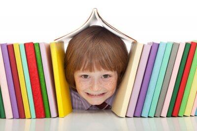 Obraz Happy boy z kolorowych książek