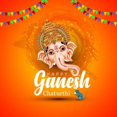 Obraz happy Ganesh Chaturthi greetings. vector illustration design.
