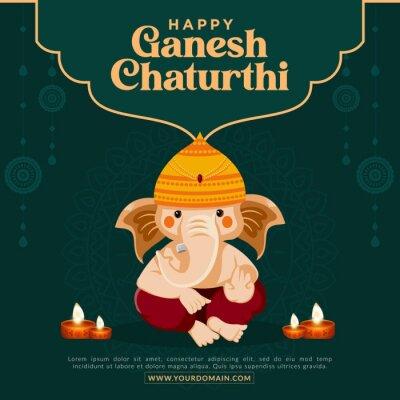 Obraz Happy Ganesh Chaturthi Indian festival banner design template.
