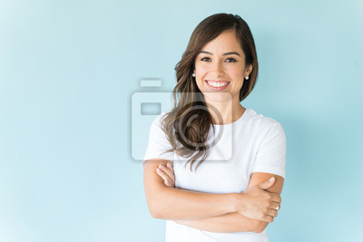 Obraz Happy Self-Assured Woman On Isolated Background
