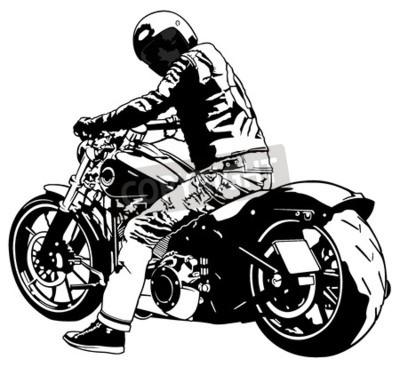 Obraz Harley Davidson i jeździec - Czarny I Biały ilustracja, wektor