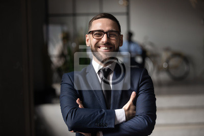 Obraz Head shot close up portrait of happy businessman.