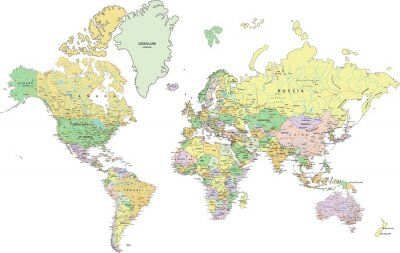 Obraz Highly detailed political World map with labeling.