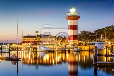 Obraz Hilton Head, Karolina Południowa, USA Latarnia morska w Twilight