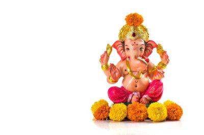 Obraz Hindu God Ganesha. Ganesha Idol on white background.
