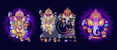 Obraz Hindu God Ganesha. Set of Lord Ganesh elements. Vector.