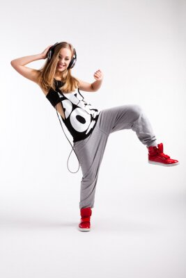 Obraz Hip-Hop Tänzerin mit Kopfhörern