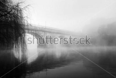 Obraz Historyczna część Barcelos w mglisty poranek (czarno-białe zdjęcie HDR)
