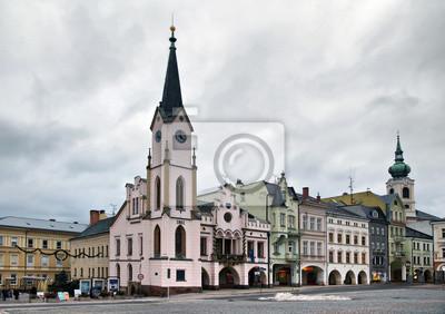 Historyczne buildins na placu Krakonošova w Trutnov, Czech Repu