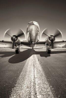 Obraz historyczny samolot czeka na start na pasie startowym