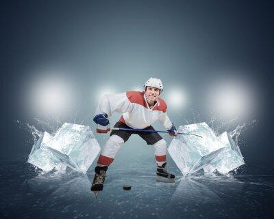 Obraz Hokeista z kostkami lodu