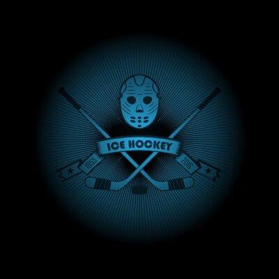 Obraz Hokej na lodzie! logo Sport. godło Pojawiające się z ciemności. Idealne na swojej czarnej koszuli! wektor