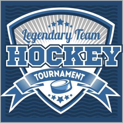 Obraz Hokej na logo zespołu szablonu. Godło, szablon logo, t-shirt projektowania odzieży. Sport plakietka na turnieju lub mistrzostwach