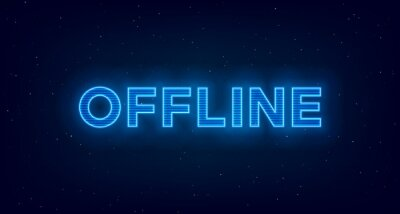 Obraz Hologram offline twitch banner. Glowing offline title with hologram effect for streaming screen. Stream gaming background with blue glowing. Vector