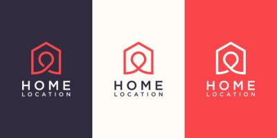 Obraz Home location Logo designs Template, house combined with pin maps.