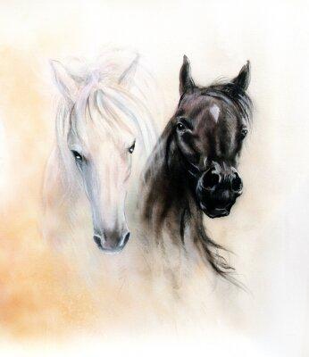 Obraz Horse heads, two black and white horse spirits, beautiful detail