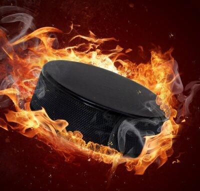 Obraz Hot hokej Puck w pożarów płomienia