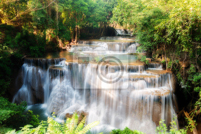 Huay MaeKamin Waterfall is beautiful waterfall in tropical forest, Kanchanaburi province, Thailand.