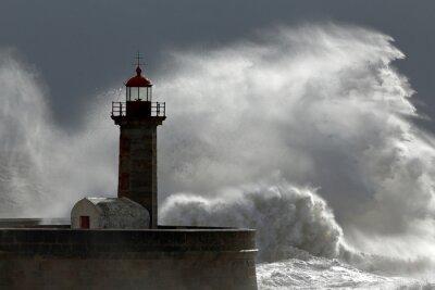 Obraz Huge wave over lighthouse